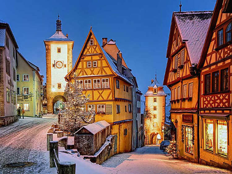 Rothenburg Ob Der Tauber Centrum Winter Avond